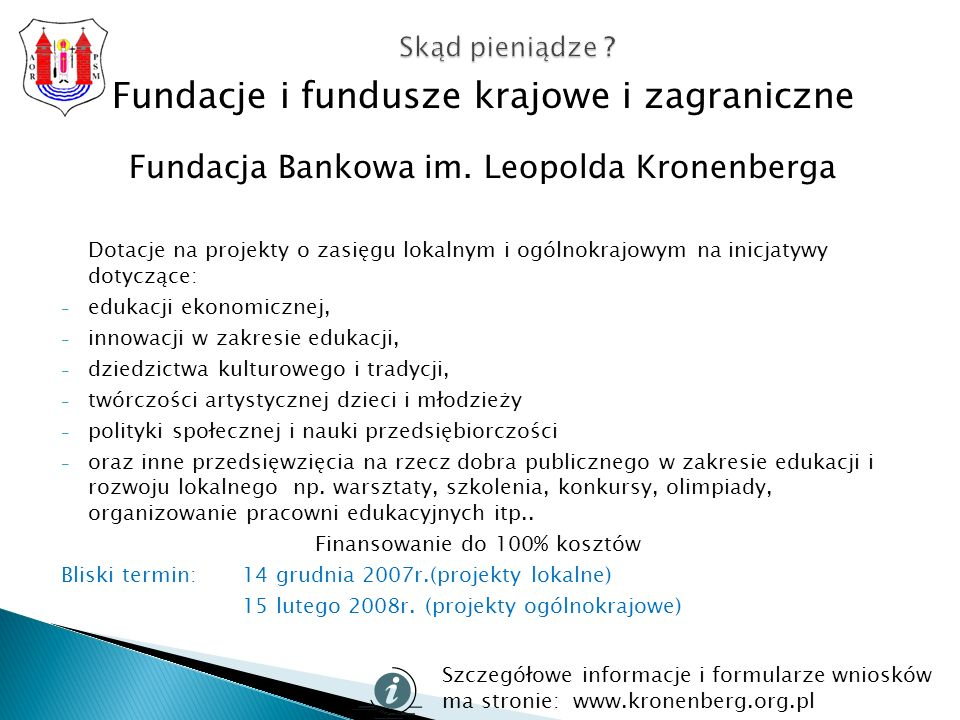 Fundacje i fundusze krajowe i zagraniczne