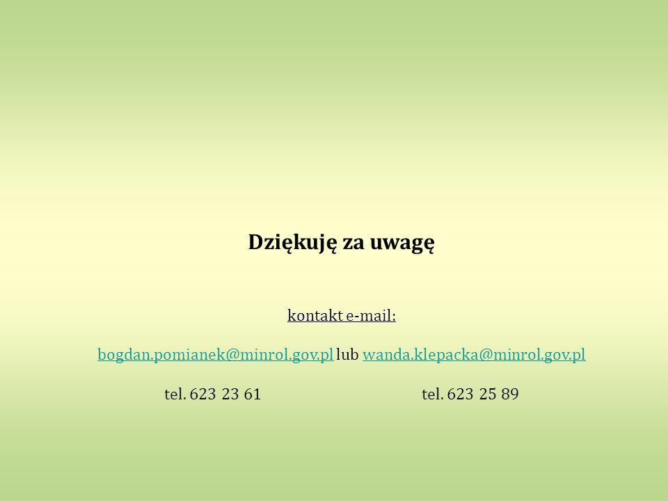 bogdan.pomianek@minrol.gov.pl lub wanda.klepacka@minrol.gov.pl
