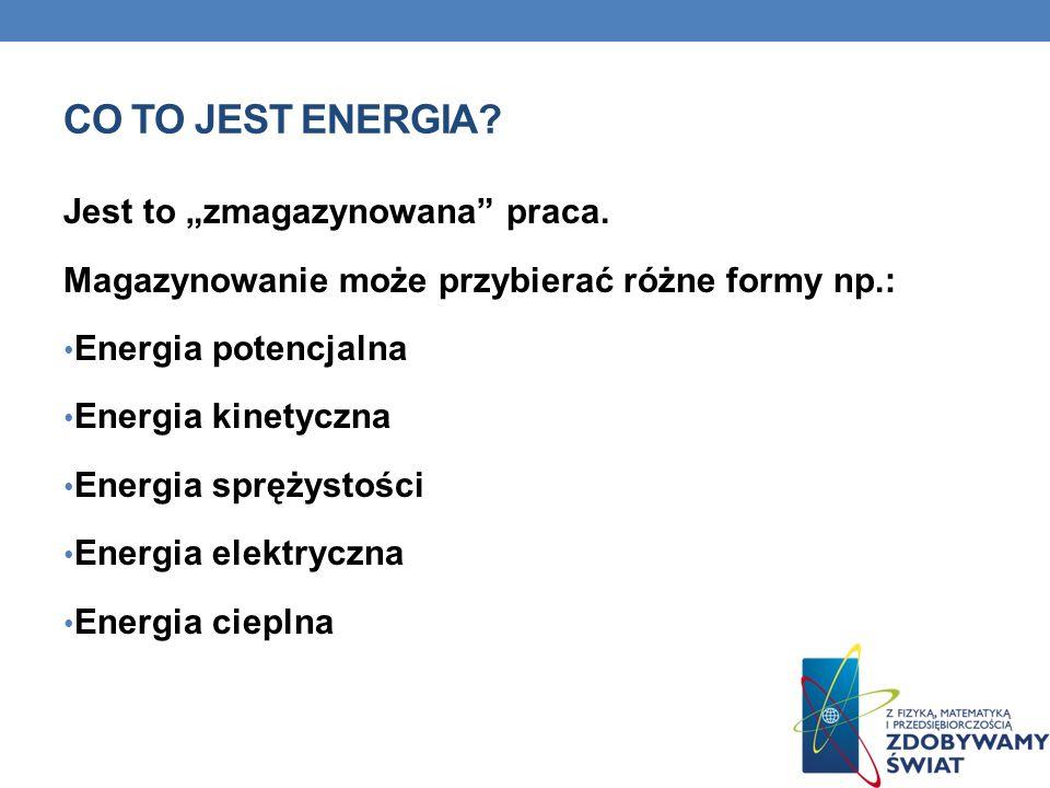 """Co to jest energia Jest to """"zmagazynowana praca."""