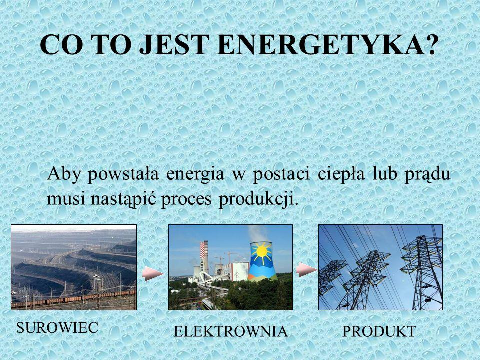 CO TO JEST ENERGETYKA Aby powstała energia w postaci ciepła lub prądu musi nastąpić proces produkcji.