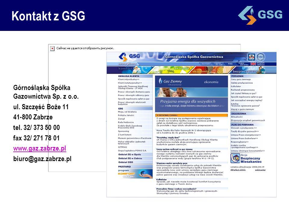 Kontakt z GSG Górnośląska Spółka Gazownictwa Sp. z o.o.