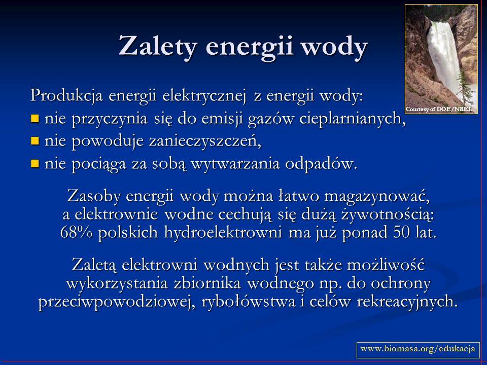 Zalety energii wody Produkcja energii elektrycznej z energii wody: