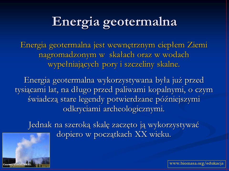 Energia geotermalna Energia geotermalna jest wewnętrznym ciepłem Ziemi nagromadzonym w skałach oraz w wodach wypełniających pory i szczeliny skalne.