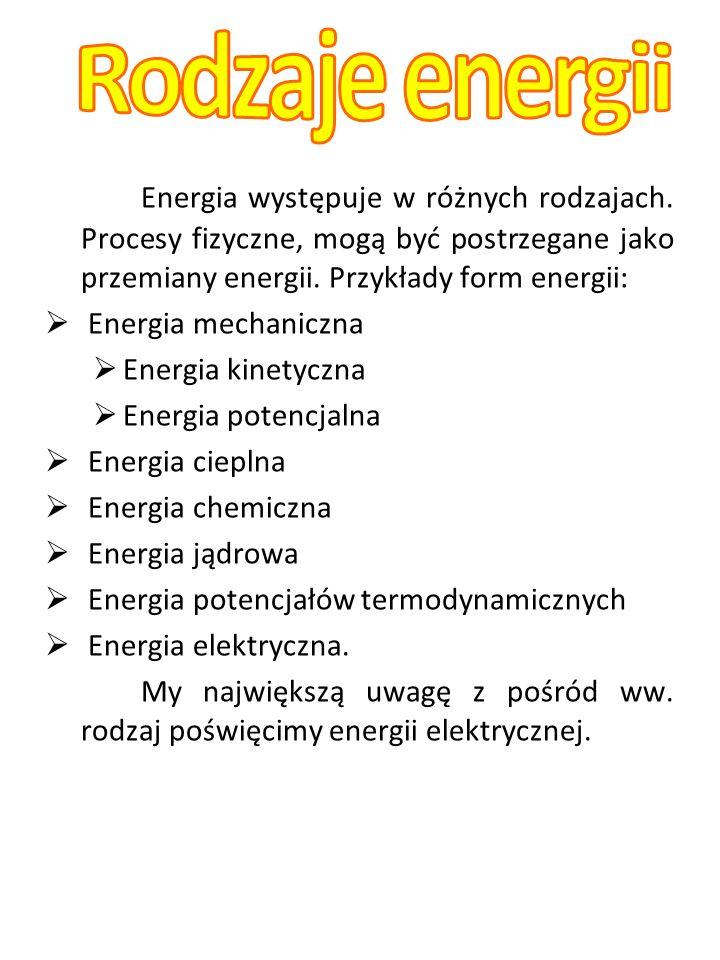 Rodzaje energii Energia występuje w różnych rodzajach. Procesy fizyczne, mogą być postrzegane jako przemiany energii. Przykłady form energii: