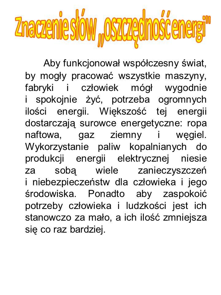 Znaczenie słów ,,oszczędność energi
