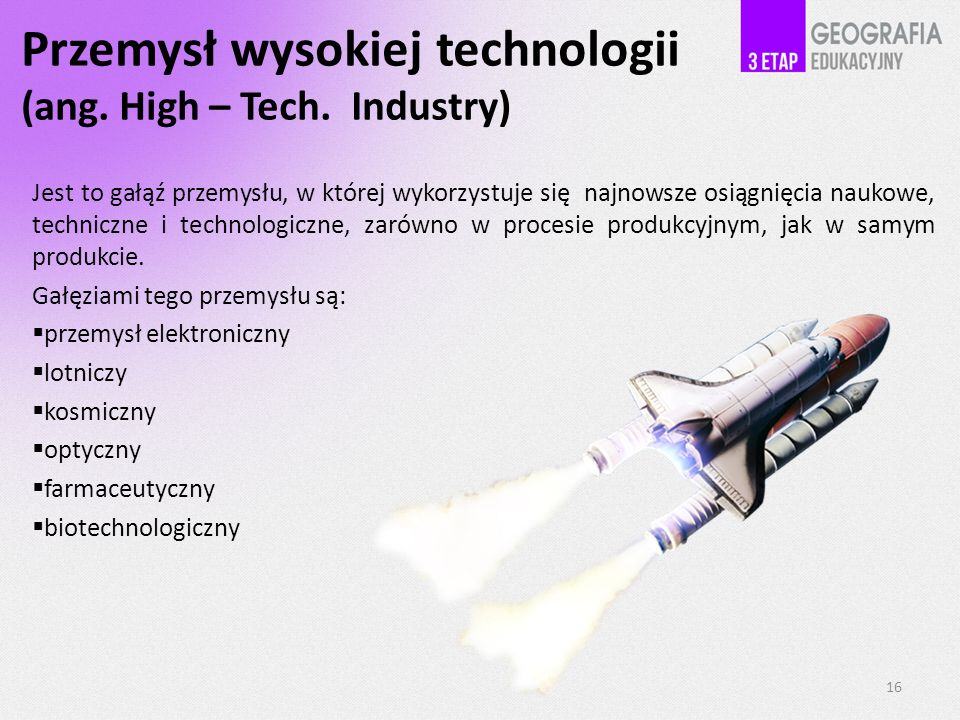 Przemysł wysokiej technologii (ang. High – Tech. Industry)