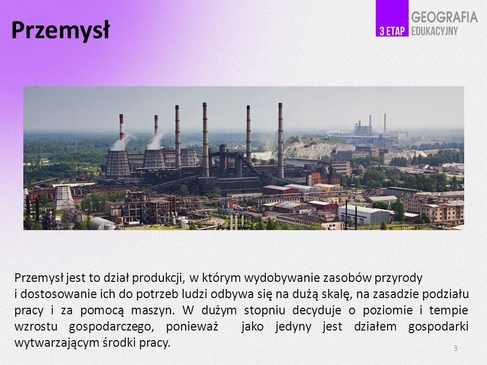 Przemysł Przemysł jest to dział produkcji, w którym wydobywanie zasobów przyrody.
