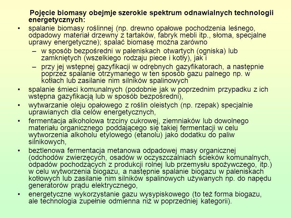Pojęcie biomasy obejmje szerokie spektrum odnawialnych technologii energetycznych: