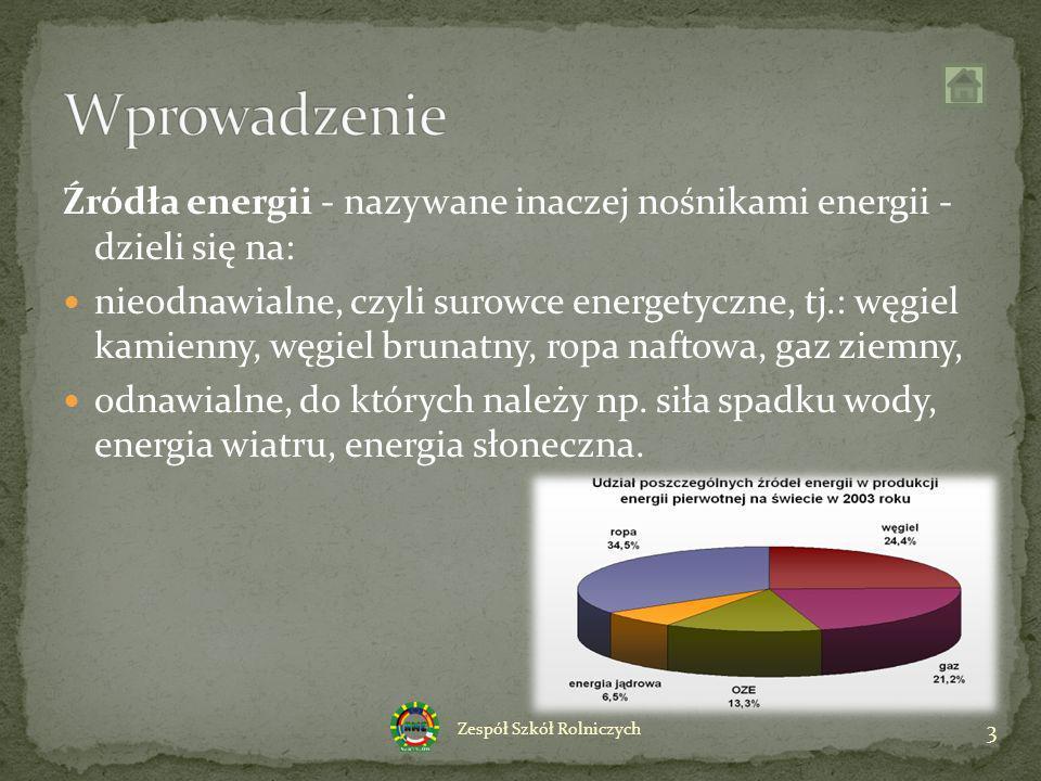 Wprowadzenie Źródła energii - nazywane inaczej nośnikami energii - dzieli się na: