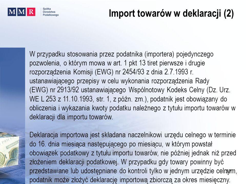 Import towarów w deklaracji (2)