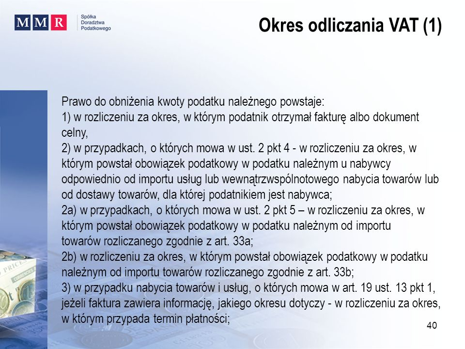 Okres odliczania VAT (1)