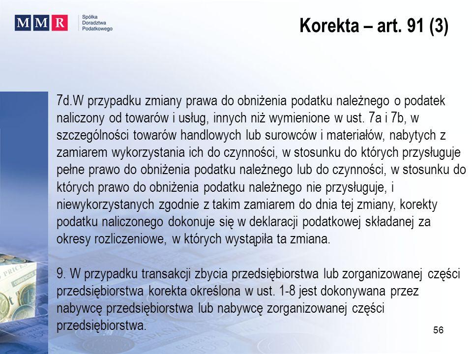 Korekta – art. 91 (3)