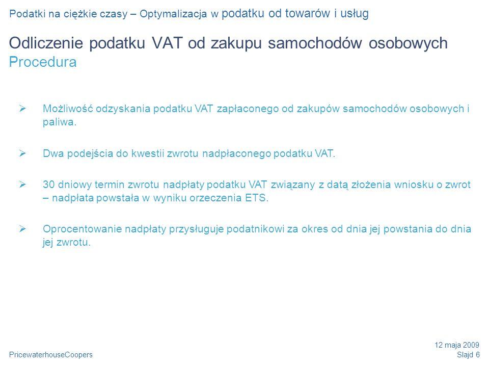 Odliczenie podatku VAT od zakupu samochodów osobowych Procedura