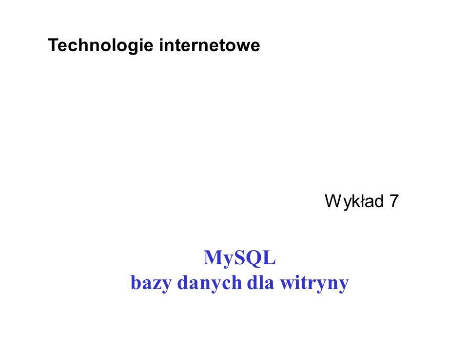 MySQL bazy danych dla witryny
