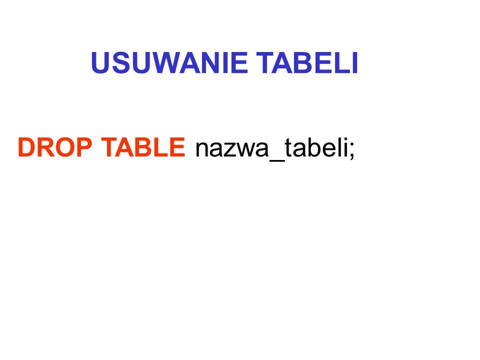 USUWANIE TABELI DROP TABLE nazwa_tabeli;