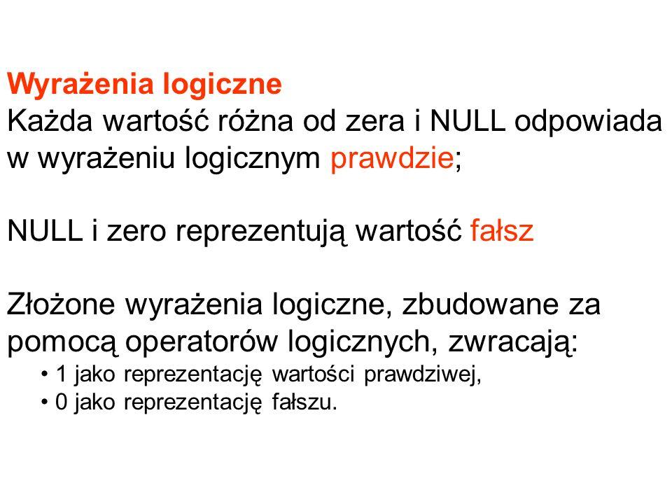 Wyrażenia logiczne Każda wartość różna od zera i NULL odpowiada w wyrażeniu logicznym prawdzie; NULL i zero reprezentują wartość fałsz.