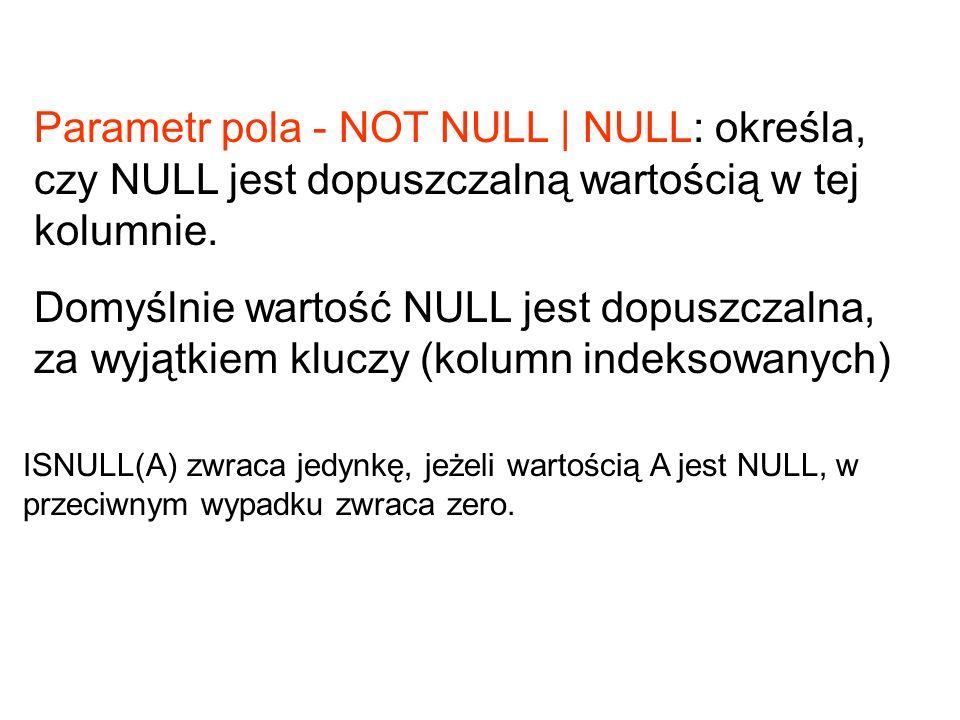 Parametr pola - NOT NULL | NULL: określa, czy NULL jest dopuszczalną wartością w tej kolumnie.