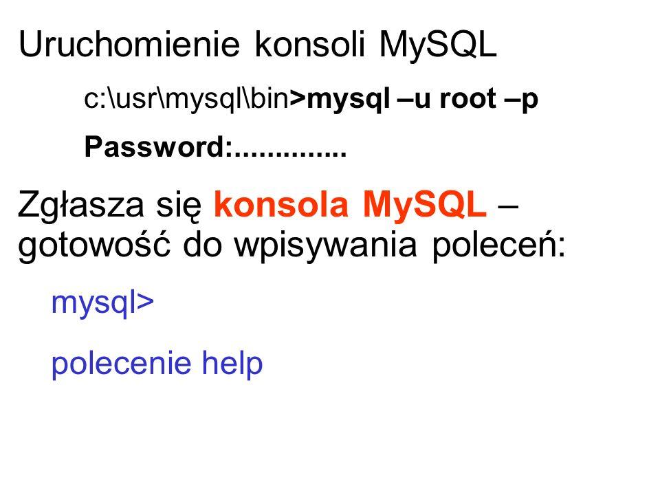 Uruchomienie konsoli MySQL