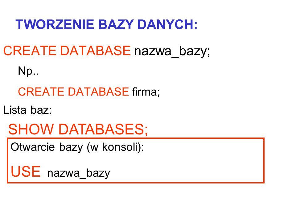 SHOW DATABASES; USE nazwa_bazy TWORZENIE BAZY DANYCH: