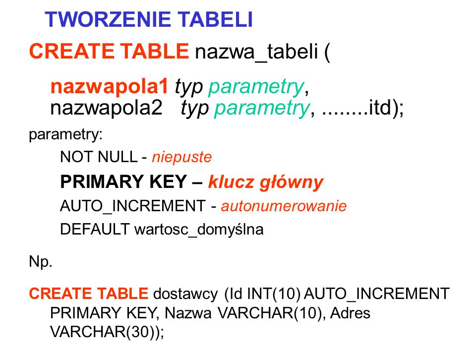 CREATE TABLE nazwa_tabeli (