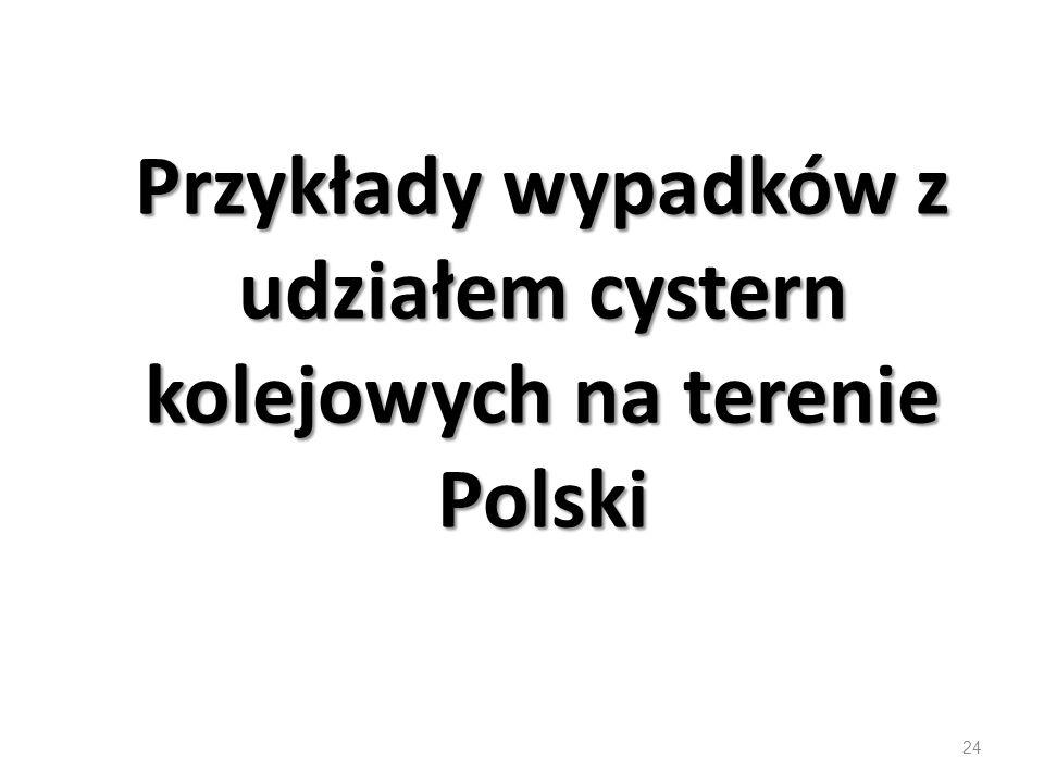 Przykłady wypadków z udziałem cystern kolejowych na terenie Polski