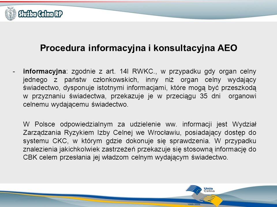 Procedura informacyjna i konsultacyjna AEO