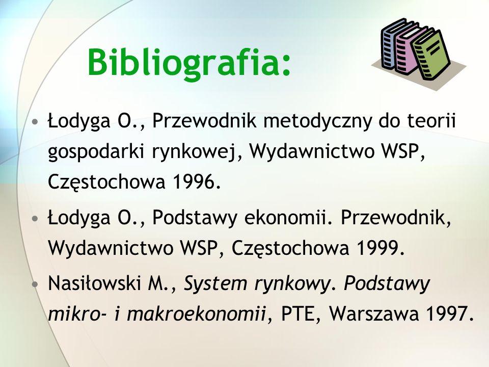 Bibliografia:Łodyga O., Przewodnik metodyczny do teorii gospodarki rynkowej, Wydawnictwo WSP, Częstochowa 1996.