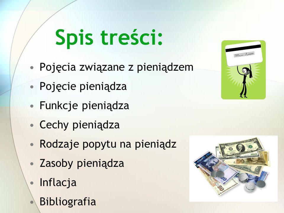 Spis treści: Pojęcia związane z pieniądzem Pojęcie pieniądza