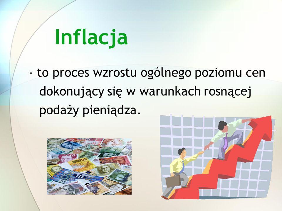 Inflacja - to proces wzrostu ogólnego poziomu cen dokonujący się w warunkach rosnącej podaży pieniądza.