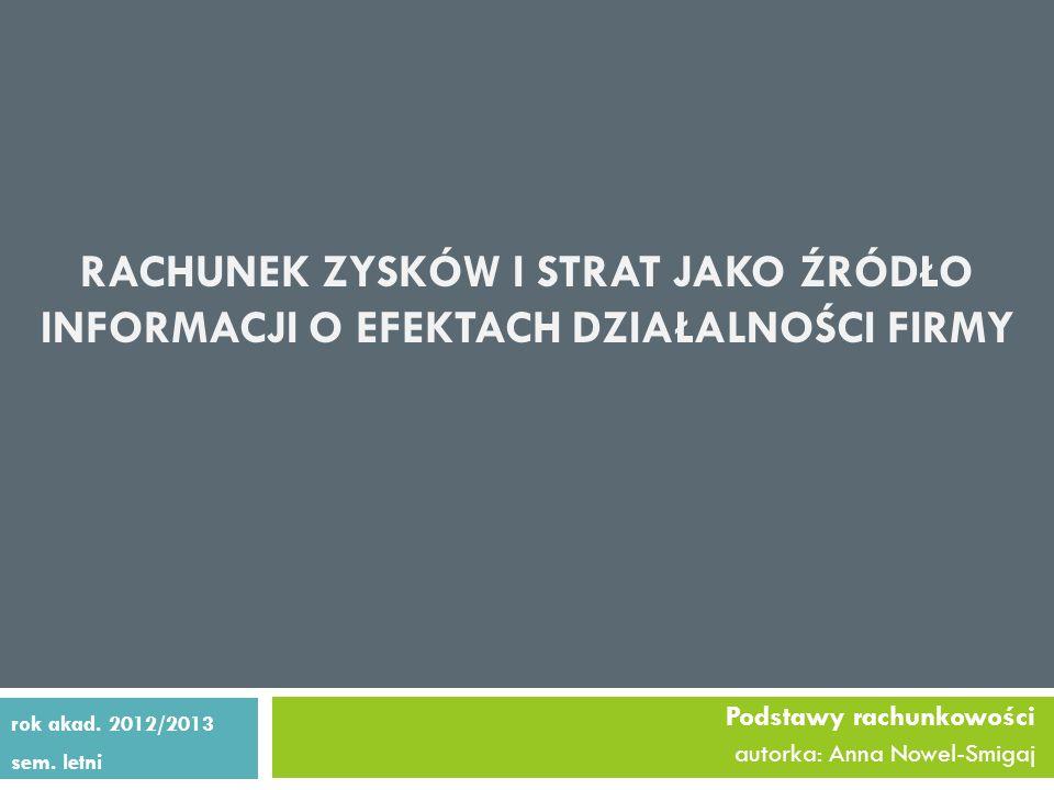 Podstawy rachunkowości autorka: Anna Nowel-Smigaj