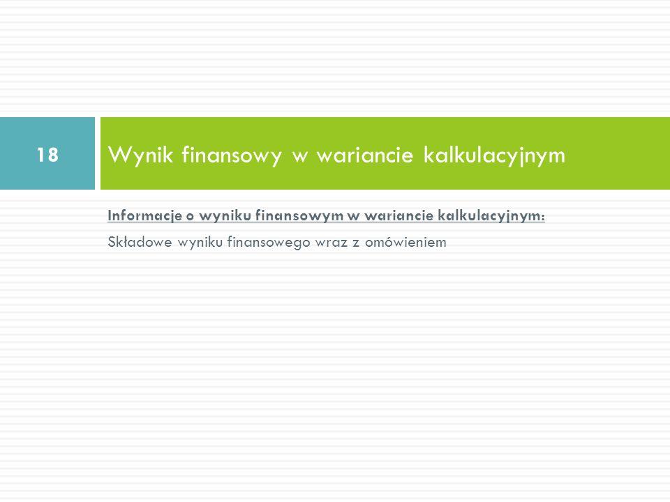 Wynik finansowy w wariancie kalkulacyjnym