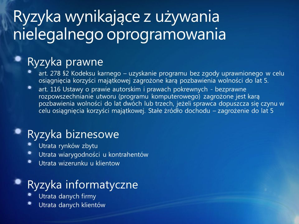 Ryzyka wynikające z używania nielegalnego oprogramowania
