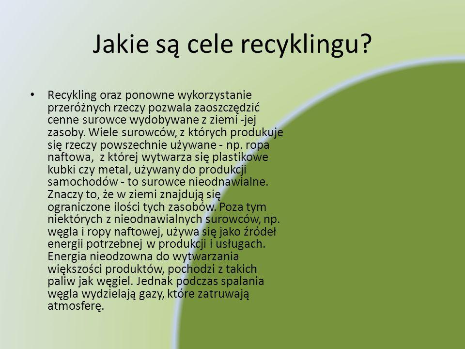 Jakie są cele recyklingu