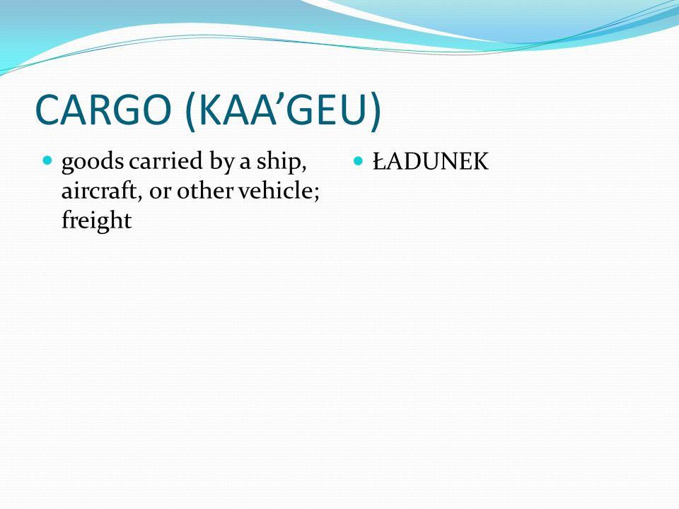 CARGO (KAA'GEU) goods carried by a ship, aircraft, or other vehicle; freight ŁADUNEK