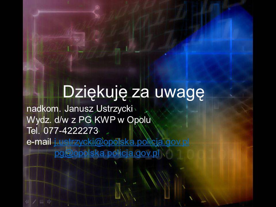 Dziękuję za uwagę nadkom. Janusz Ustrzycki Wydz. d/w z PG KWP w Opolu