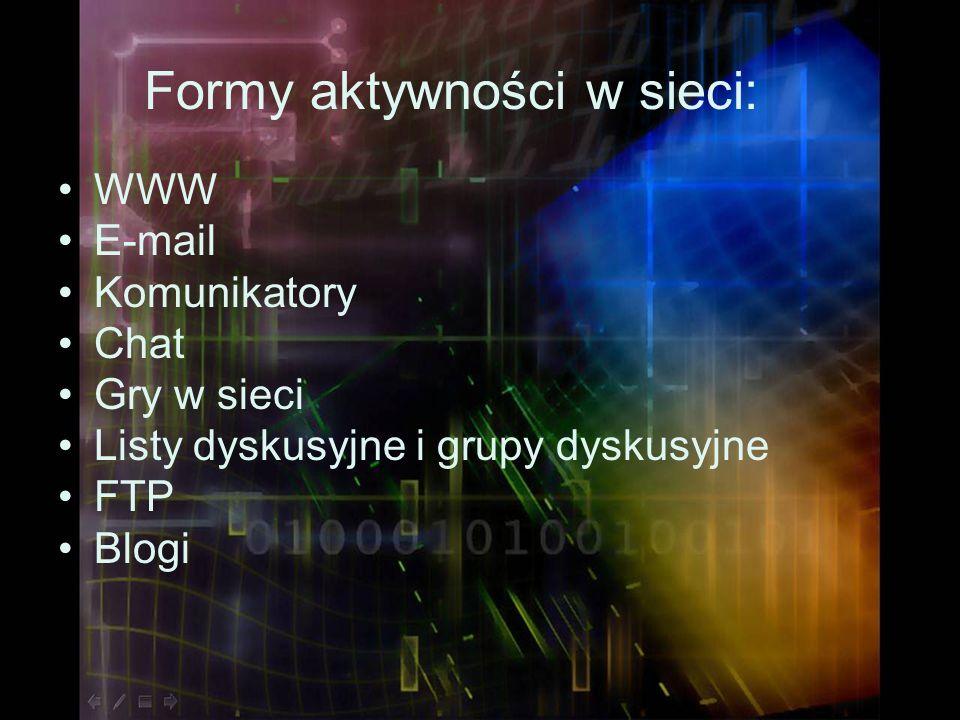Formy aktywności w sieci: