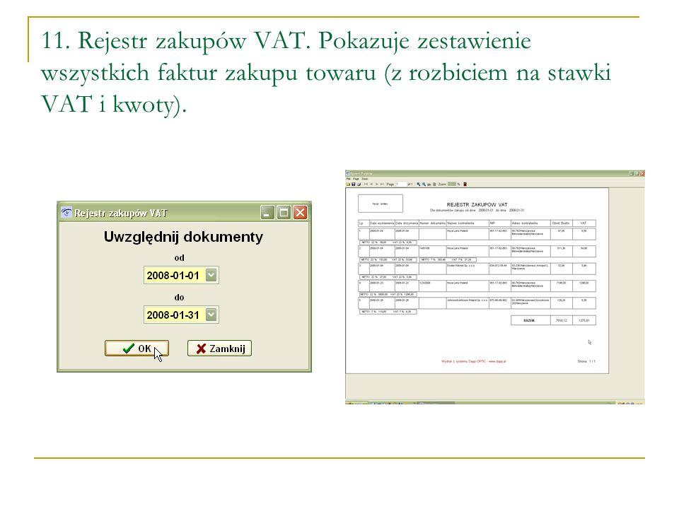 11.Rejestr zakupów VAT.
