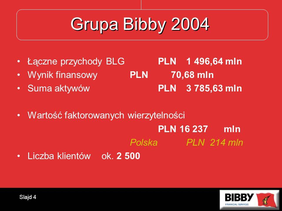 Grupa Bibby 2004 Łączne przychody BLG PLN 1 496,64 mln