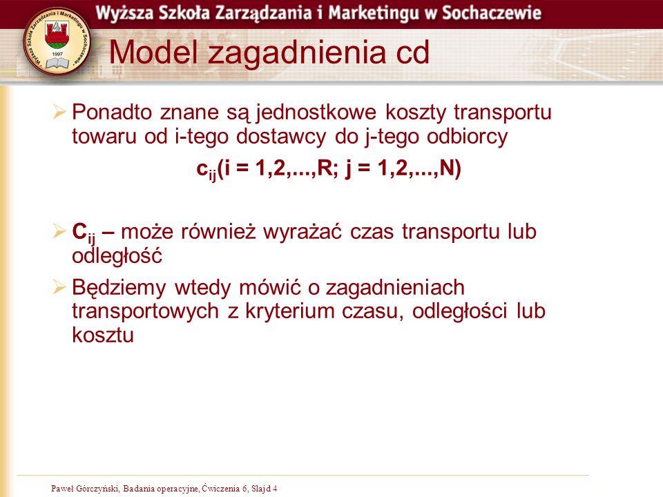 Model zagadnienia cdPonadto znane są jednostkowe koszty transportu towaru od i-tego dostawcy do j-tego odbiorcy.