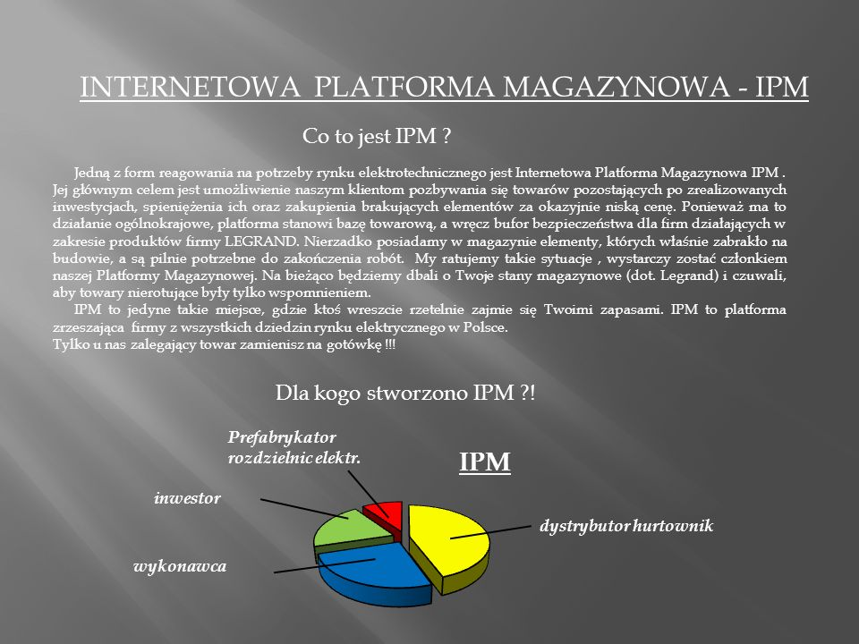 INTERNETOWA PLATFORMA MAGAZYNOWA - IPM