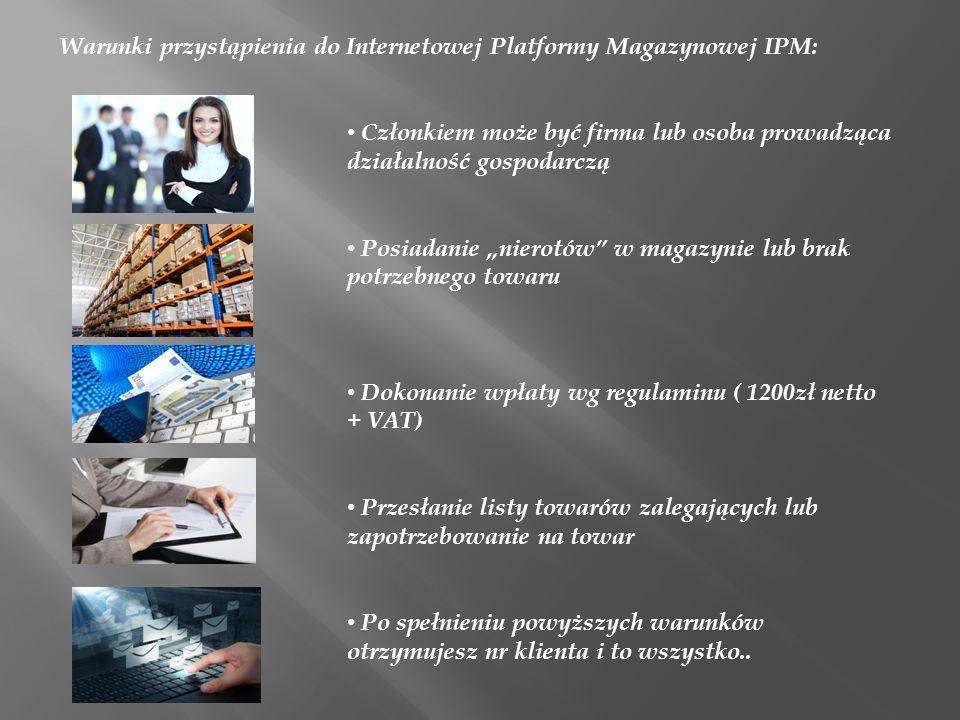 Warunki przystąpienia do Internetowej Platformy Magazynowej IPM: