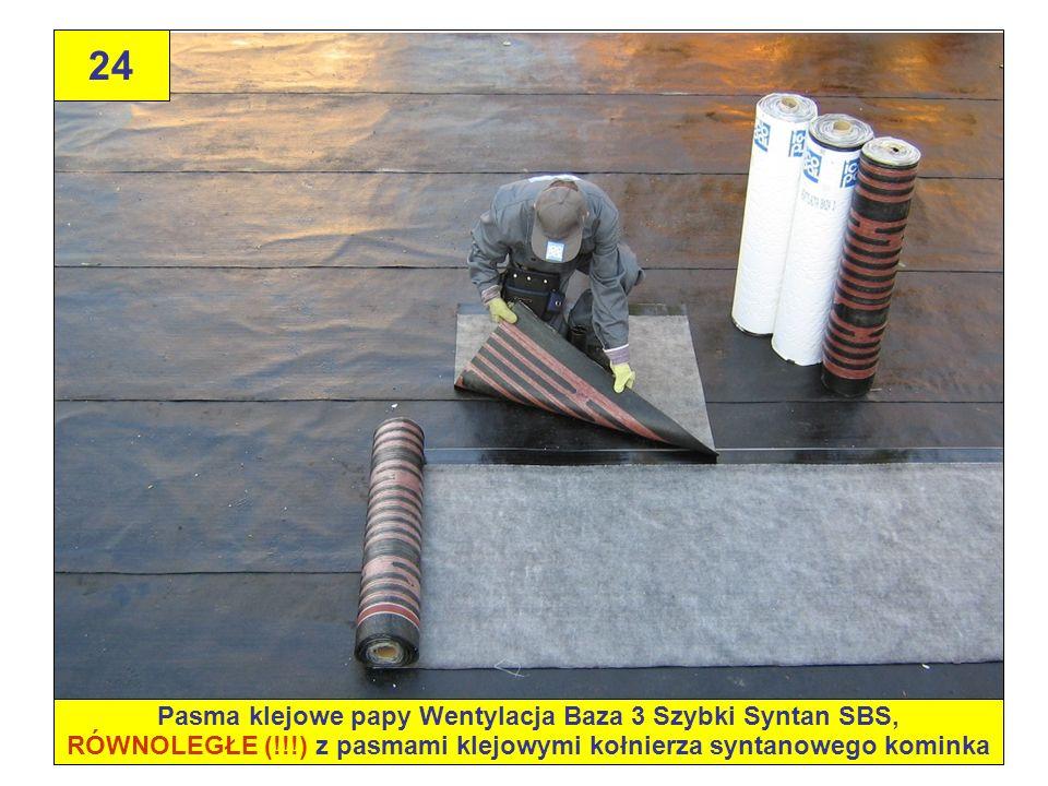 24 Pasma klejowe papy Wentylacja Baza 3 Szybki Syntan SBS, RÓWNOLEGŁE (!!!) z pasmami klejowymi kołnierza syntanowego kominka.