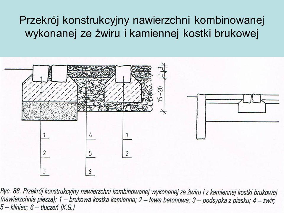 Przekrój konstrukcyjny nawierzchni kombinowanej wykonanej ze żwiru i kamiennej kostki brukowej