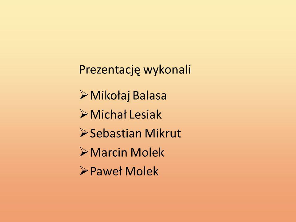 Prezentację wykonali Mikołaj Balasa Michał Lesiak Sebastian Mikrut Marcin Molek Paweł Molek