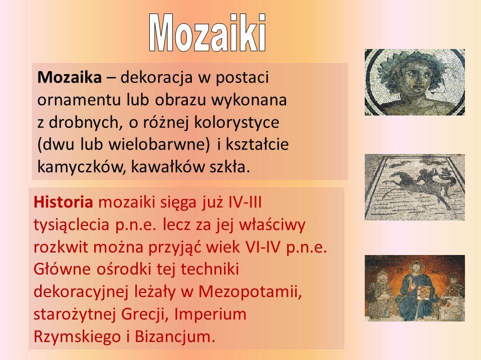 Mozaiki Mozaika – dekoracja w postaci ornamentu lub obrazu wykonana