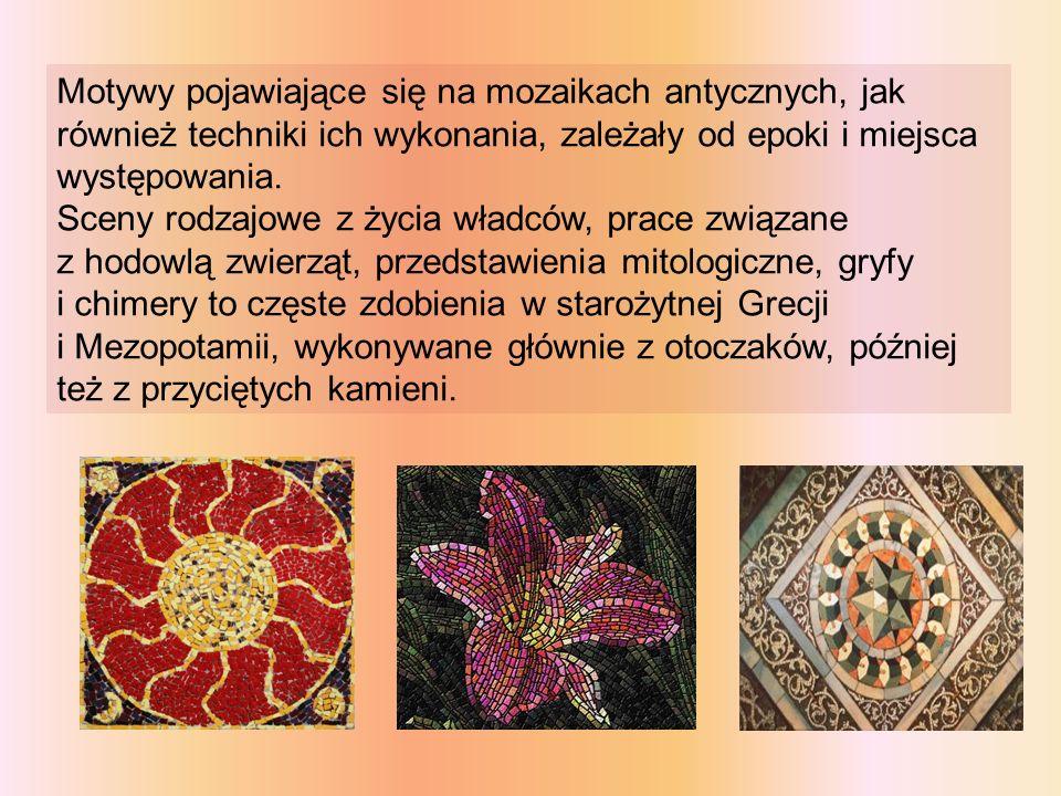 Motywy pojawiające się na mozaikach antycznych, jak również techniki ich wykonania, zależały od epoki i miejsca występowania.