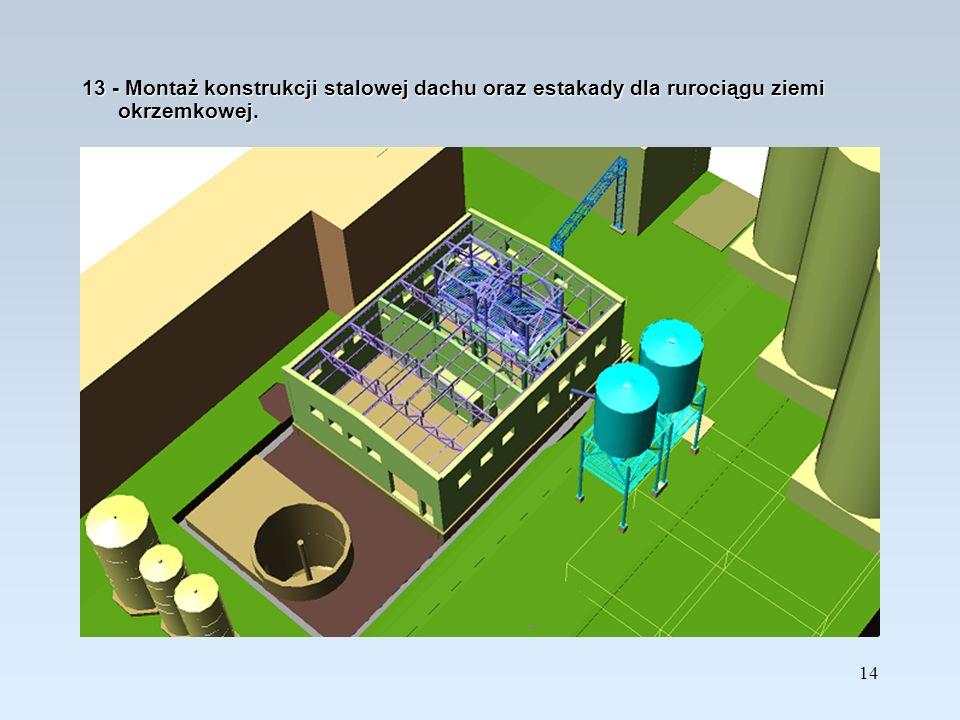 13 - Montaż konstrukcji stalowej dachu oraz estakady dla rurociągu ziemi okrzemkowej.