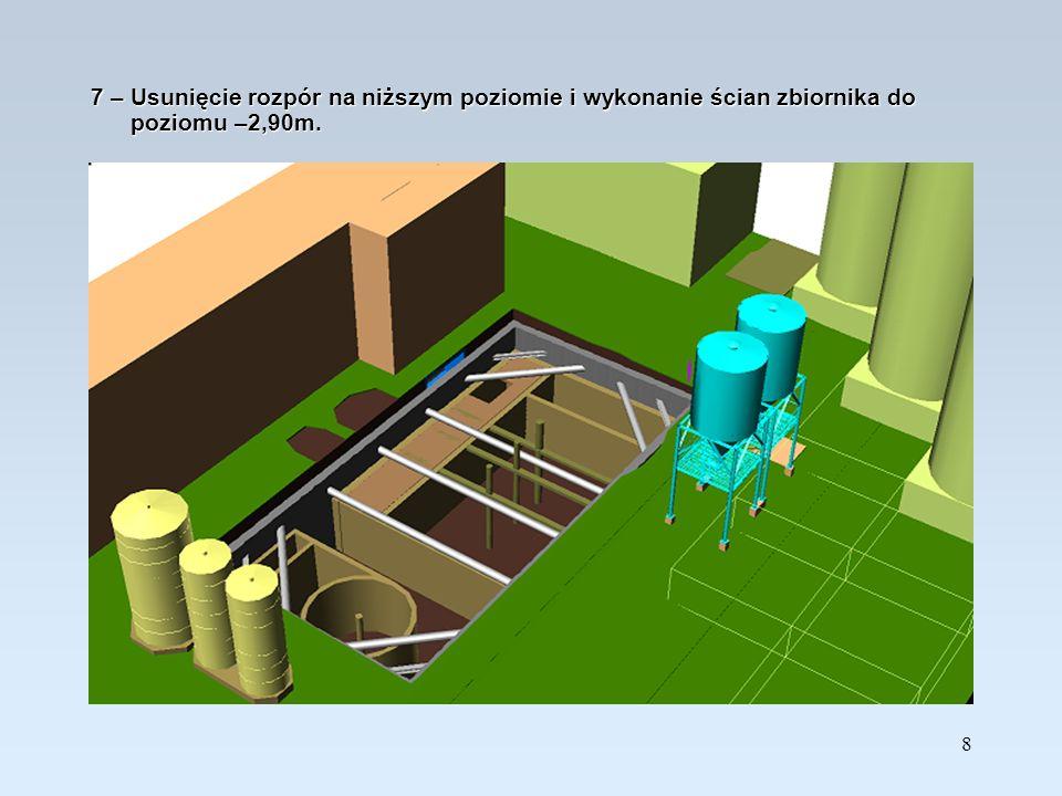 7 – Usunięcie rozpór na niższym poziomie i wykonanie ścian zbiornika do poziomu –2,90m.
