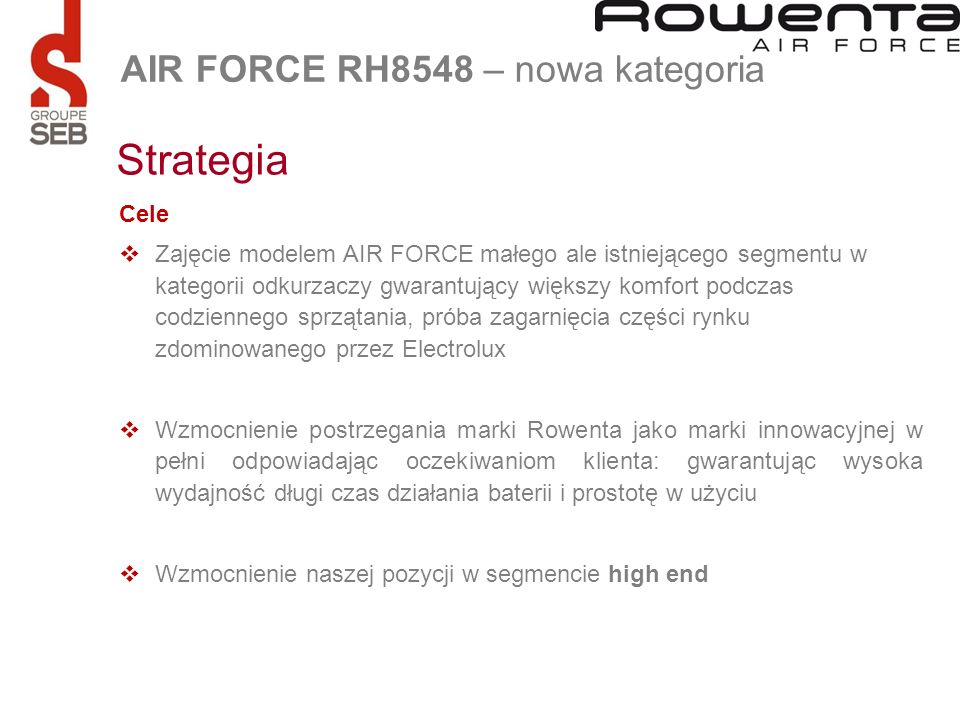 Strategia AIR FORCE RH8548 – nowa kategoria Cele
