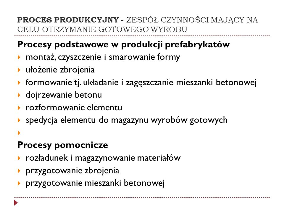 Procesy podstawowe w produkcji prefabrykatów